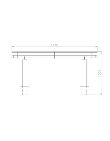 Set composta da tavolo + 2 panchine senza schienale, struttura in acciaio inox - cm 197x80h
