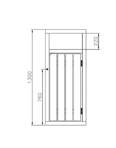 Cestino di forma quadra con porta, realizzato in acciaio zincato e verniciato ricoperto da doghe in legno - cm 55x55x130h