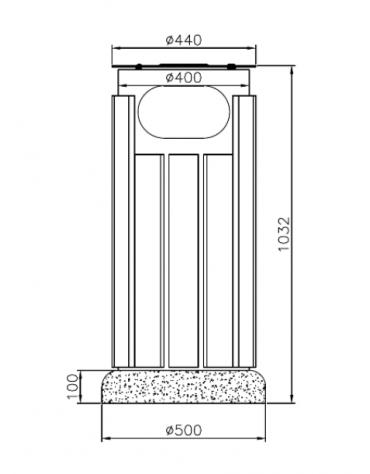 Cestino di forma cilindrica in acciaio zincato e verniciato con doghe in legno,con base in cemento - cm Ø 40x103,2h