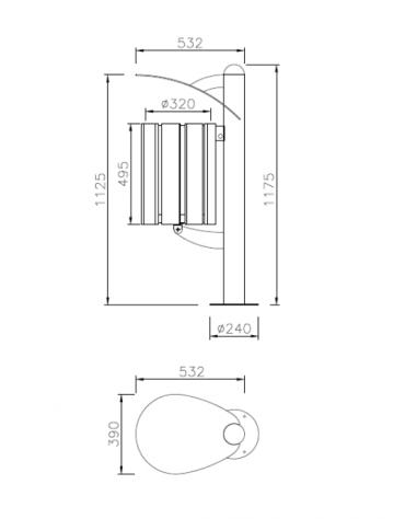 Cestino a forma cilindrica con doghe in legno di pino e coperchio, da inghisare - cm 39x53,2x117,5h