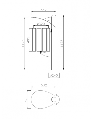 Cestino a forma cilindrica con doghe in legno di pino e coperchio, da tassellare - cm 39x53,2x117,5h