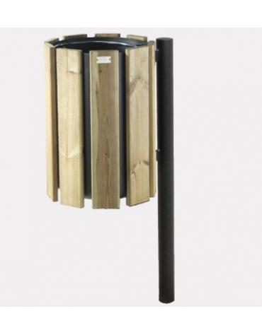 Cestino con paletto da inghisare, in acciaio zincato e verniciato, con doghe in legno di pino - cm 46x37x120h