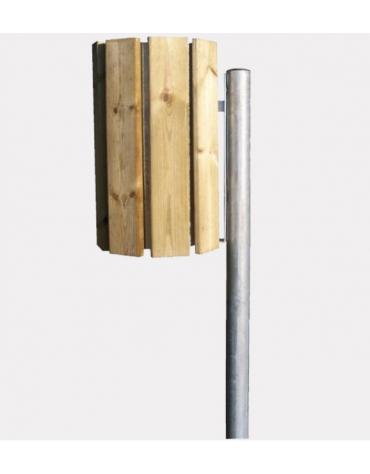 Cestino portarifiuti da inghisare in acciaio zincato a caldo, contenitore ricoperto di doghe in legno di pino - cm 31,5x39x120h