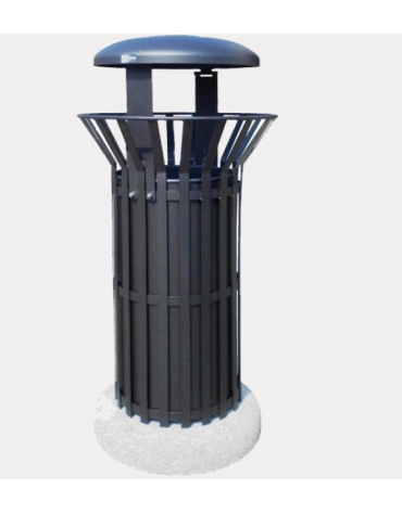 Cestino portarifiuti di forma cilindrica in acciaio zincato e verniciato, base in cemento - cm Ø57xØ50x114,5h