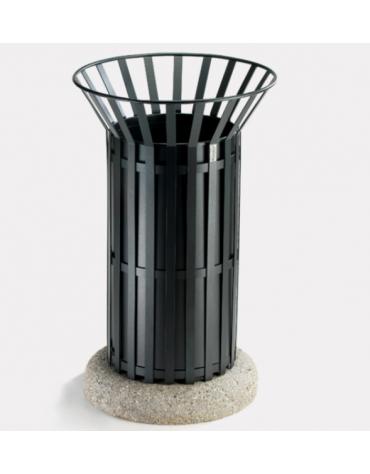 Cestino portarifiuti di forma cilindrica realizzato in acciaio zincato e verniciato. Con base in cemento - cm Ø57xØ50x94,5h