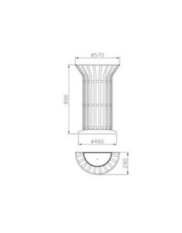 Cestino portarifiuti di forma cilindrica a fissaggio a muro, in acciaio zincato e verniciato - cm Ø57x29x84,5h