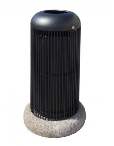 Cestino di forma cilindrica in acciaio zincato e verniciato, con base in ferro - cm Ø 40x79,3h