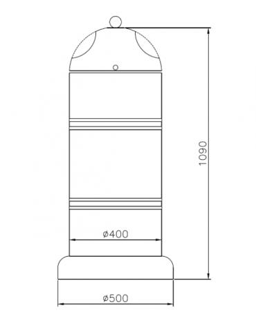 Cestino di forma cilindrica in acciaio zincato e verniciato, Con base in cemento - cm Ø 40x109h