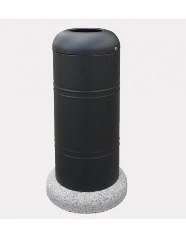 Cestino di forma cilindrica in acciaio zincato e verniciato, Con base in cemento - cm Ø 40x101,6h