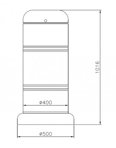 Cestino di forma cilindrica in acciaio zincato e verniciato, Con base in ferro - cm Ø 40x91,6h