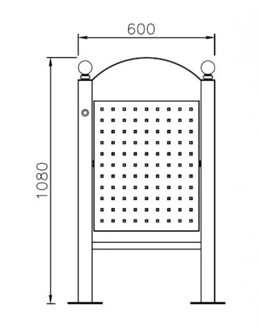 Cestino portarifiuti da tassellare di forma ellittica in acciaio zincato e verniciato cm 60x27x107,6h