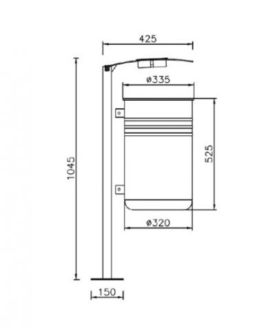 Cestino con paletto da tassellare, in acciaio zincato e verniciato, coperchio con posacenere - cm 42,5x37x104,5h