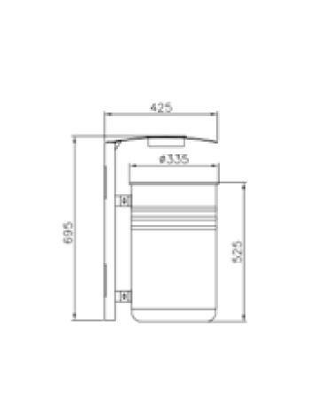 Cestino portarifiuti fissaggio a muro con lamiera liscia, in acciaio zincato e verniciato, con posacenere - cm 42,5x37x69,5h