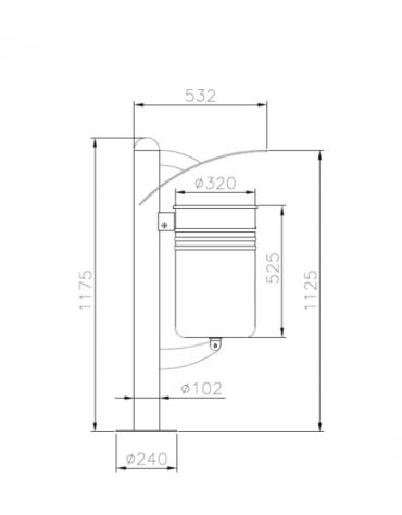 Cestino portarifiuti da tassellare a forma cilindrica con nervature - cm 39x53,2x117,5h