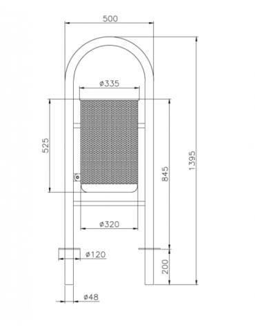 Cestino portarifiuti con coperchio da tassellare a forma cilindrica in acciaio zincato e verniciato - cm Ø 33,5x120h