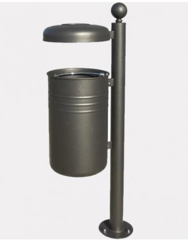 Cestino portarifiuti da inghisare a forma cilindrica con coperchio e spegni sigarette - cm 47,6x131,7h
