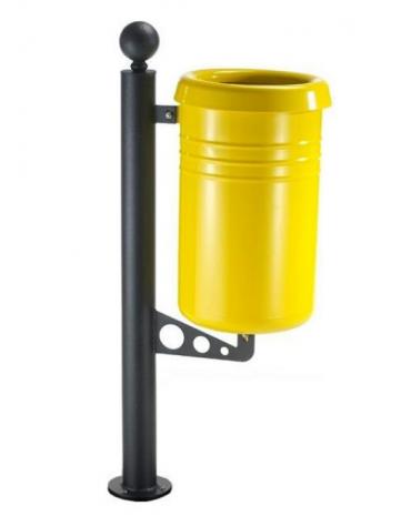 Cestino portarifiuti a forma cilindrica con nervature da tassellare, in acciaio zincato e verniciato - cm Ø 35x111,7h