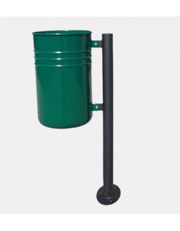 Cestino portarifiuti da inghisare di forma cilindrica, in acciaio zincato e verniciato - cm 44,9x33,5x100h