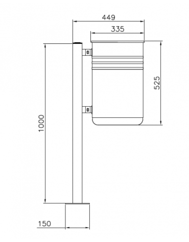 Cestino portarifiuti da tassellare di forma cilindrica, in acciaio zincato e verniciato - cm 44,9x33,5x100h