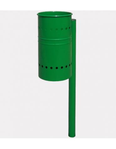 Cestino portarifiuti in acciaio zincato e verniciato, di forma cilindrica e paletto per il fissaggio al suolo - cm 108x37x108h
