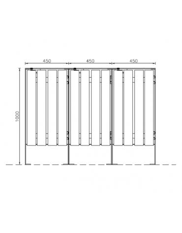 Cestone per la raccolta differenziata a 3 settori in acciaio con doghe in legno di pino - cm 135x45x100h