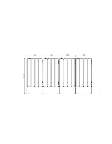 Cestone per la raccolta differenziata a 4 settori in acciaio con doghe in legno di pino - cm 180x45x100h