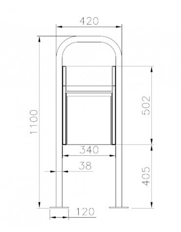 Cestino per deiezioni canine realizzato in acciaio zincato e verniciato. Da tassellare - cm 42x25x110h