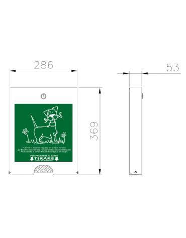 Distributore di sacchetti realizzato in acciaio zincato e verniciato. Da tassellare - cm 28,6x53x36,9h