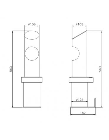 Spegnisigarette in acciaio inox. Da fissare a muro - cm Ø12,1x56h