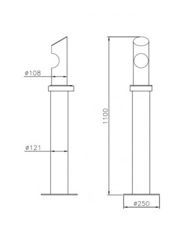 Spegnisigarette in acciaio zincato e verniciato di forma cilindrica. Da tassellare - cm Ø25 / Ø12,1x110h