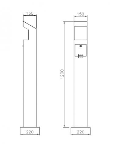 Spegnisigarette realizzato in acciaio zincato e verniciato di forma in tubolare di acciaio. Da tassellare - cm 22x22x120h