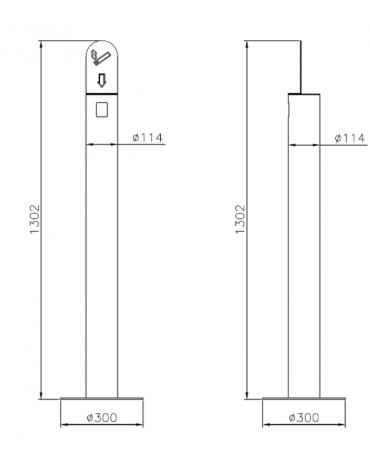 Spegni sigarette realizzato in tubolare inox. Da tassellare - cm Ø11,4/Ø30x130,2h