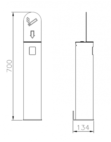 Spegnisigarette in acciaio zincato e verniciato. Da fissare a muro - cm Ø11,4x70h