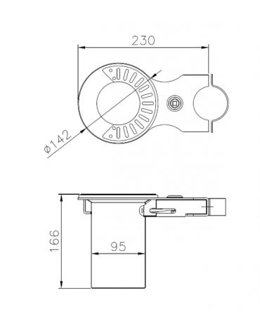 Spegnisigarette realizzato in acciaio zincato e verniciato. Fissaggio a paletto - cm 23x14,2x16,6h
