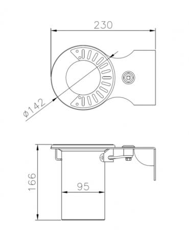 Spegnisigarette realizzato in acciaio zincato e verniciato. Fissaggio a muro - cm 23x14,2x16,6h