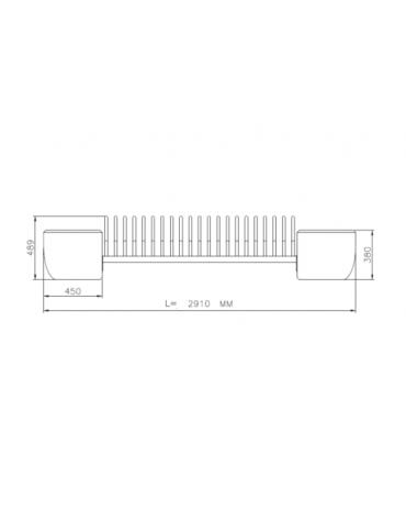 Portabici 5 posti con fioriere laterali, rastrelliera di elementi in tubolare di acciaio zincato e verniciato - cm 291x55x48,9h