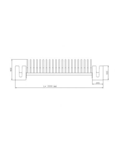 Portabici 3 + 2 posti con rastrelliera tubolare in acciaio e sostegni laterali in cemento - cm 200x60x46,9h