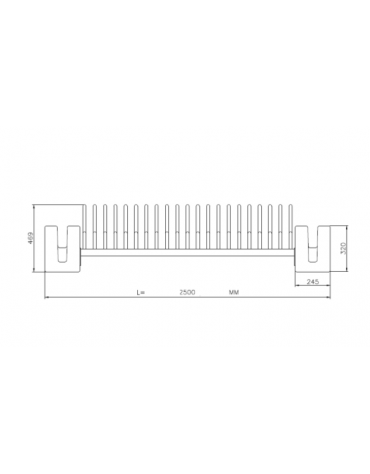 Portabici 5 + 2 posti con rastrelliera in tubolare di acciaio con sostegni laterali in cemento - cm 250x60x46,9h