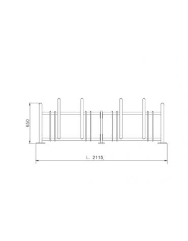 Portabici 4 posti realizzato completamente in acciaio zincato e verniciato. Da tassellare - cm 211,5x65h