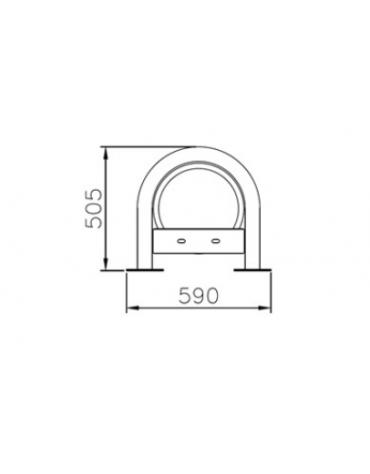 Portabici 5 posti con elemento a spirale. Base per il fissaggio al suolo tramite tasselli - cm 209,5x59x50,5h