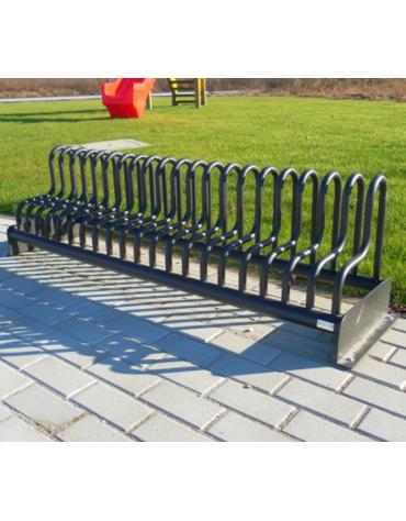 Portabici 5 posti realizzato completamente in acciaio zincato e verniciato. Da tassellare - cm 210x39x42,9h