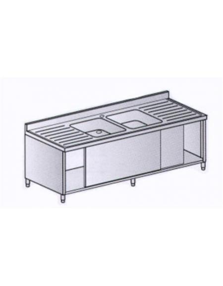 Lavello 2 vasche + 2 gocciolatoi Dimensioni cm.200x70x85h