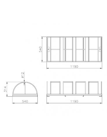 Portabici 5 posti costituito da una rastrelliera di tondini in acciaio zincato a caldo - cm 119x54x31,4h