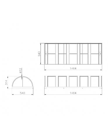 Portabici 6 posti costituito da una rastrelliera di tondini in acciaio zincato a caldo - cm 146,4x54x31,4h