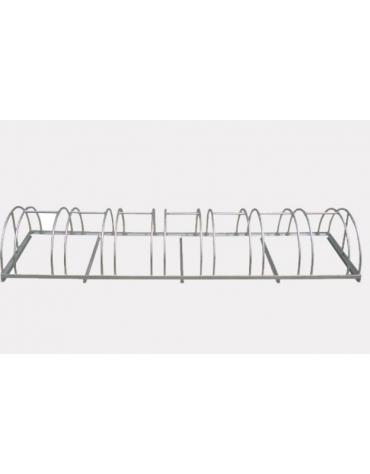 Portabici 8 posti costituito da una rastrelliera di tondini in acciaio zincato a caldo - cm 201,2x54x31,4h