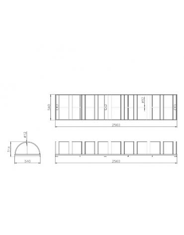 Portabici 10 posti costituito da una rastrelliera di tondini in acciaio zincato a caldo - cm 256x54x31,4h