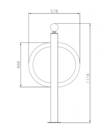 Portabici singolo realizzato in acciaio zincato e verniciato. Da tassellare - cm 57,8x111,6h
