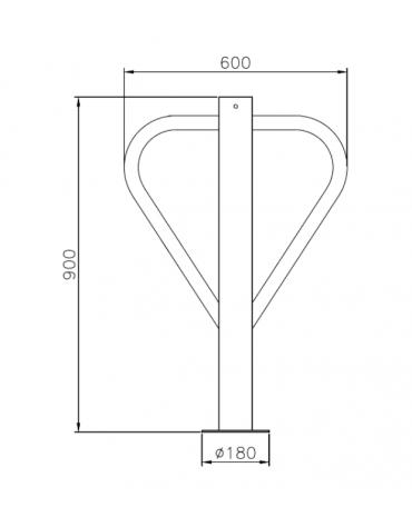 Portabici singolo realizzato in acciaio zincato e verniciato. Da inghisare - cm 60x90h