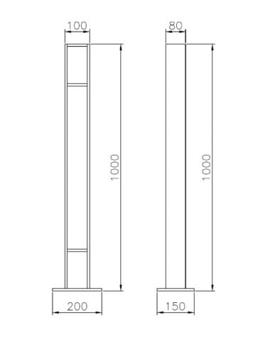 Portabici singolo realizzato in acciaio zincato e verniciato. Da tassellare - cm 10x8/20x15x100h