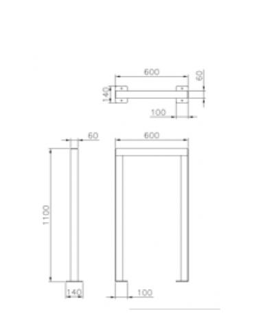 Portabici singolo realizzato in acciaio zincato e verniciato. Da inghisare - cm 60x10x110h